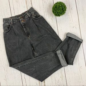 Vintage Pleat Front Mom Jeans in Faded Black Wash